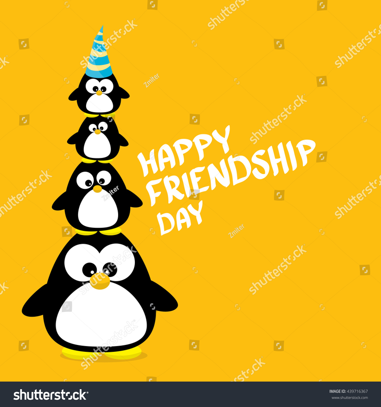 Happy Friends Day Background Funny Cartoon Stock Vector Royalty