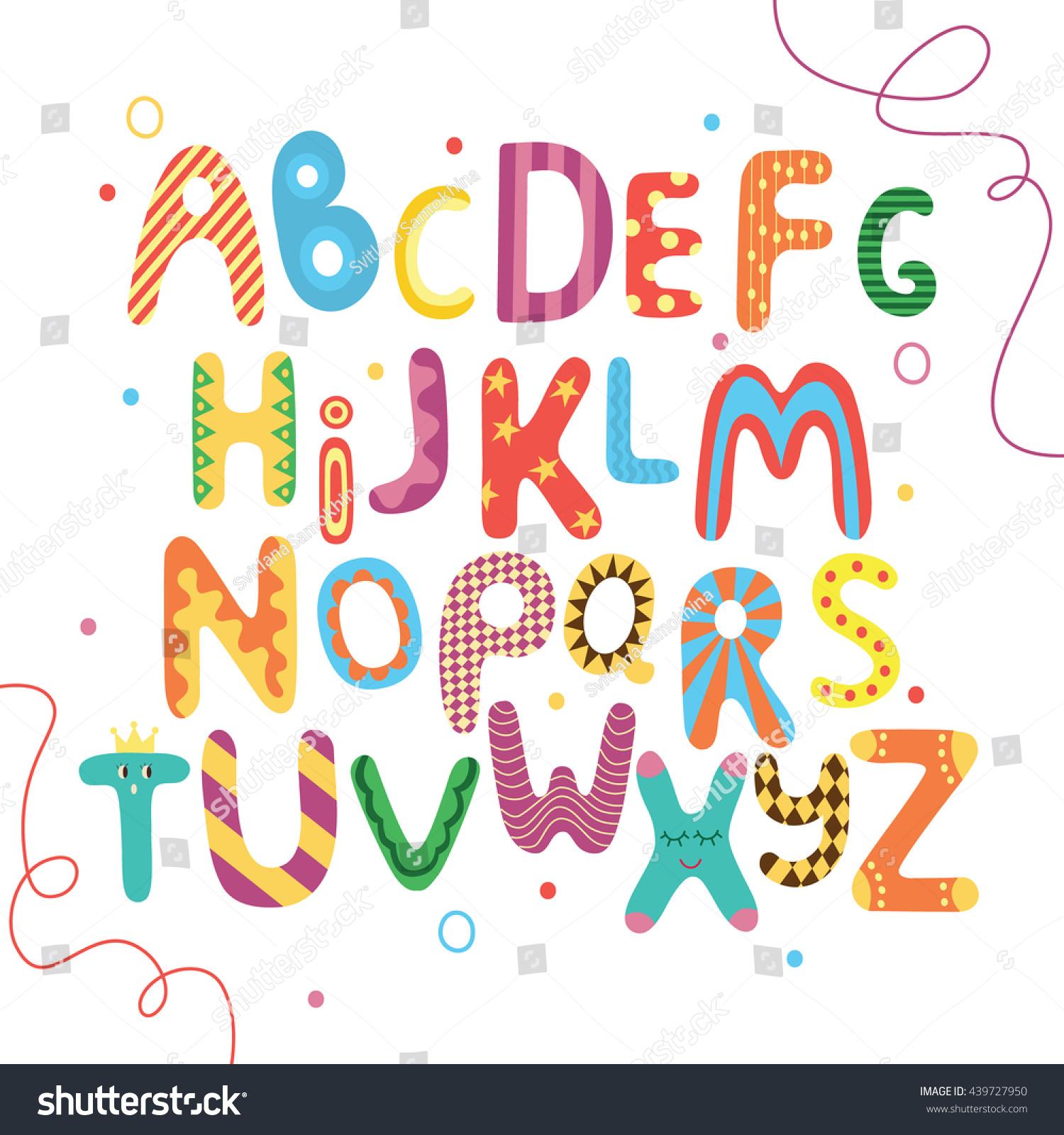 Bright Abc Kids Alphabet English Abc Stock Vector