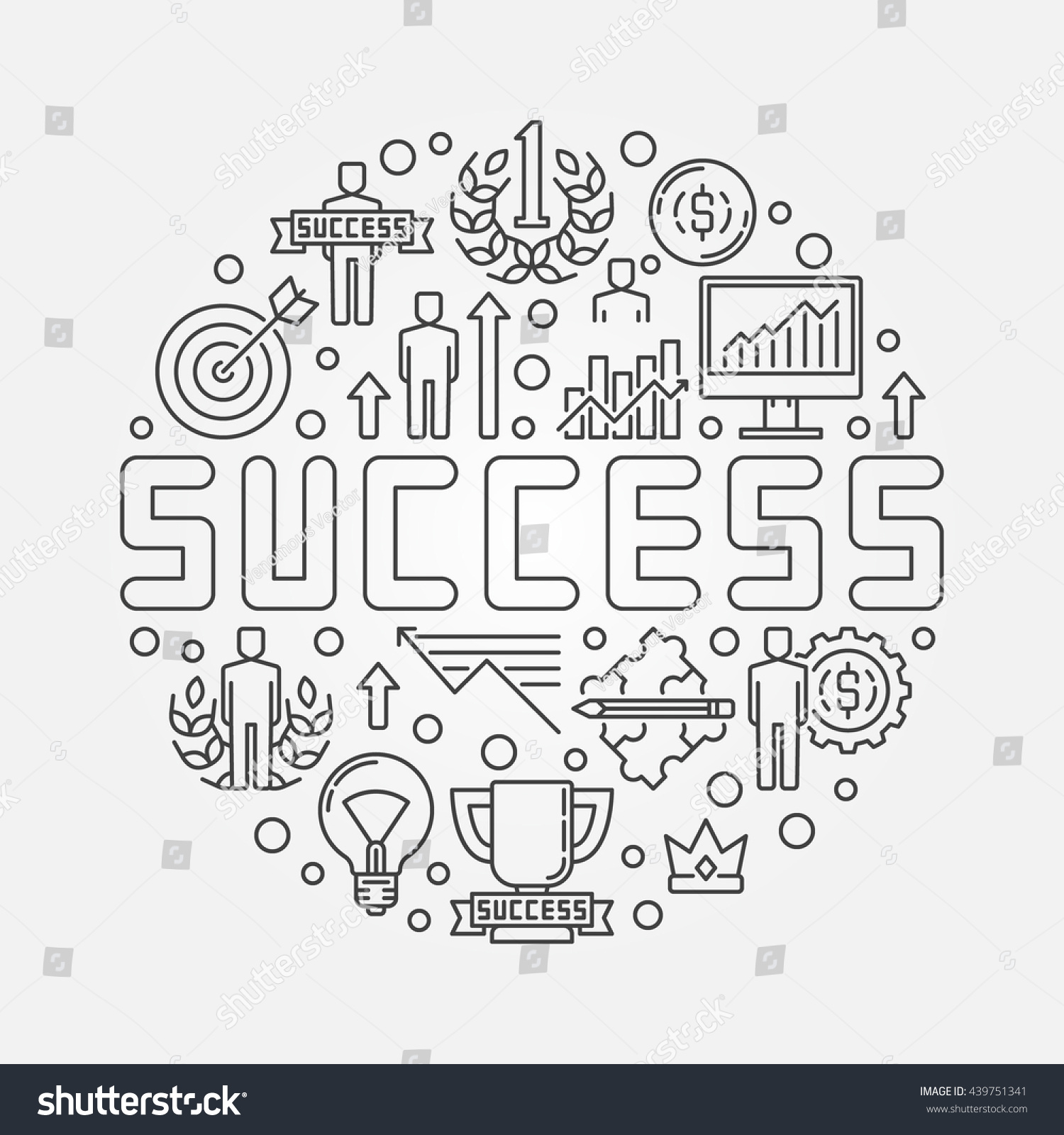 Success Concept Illustration Vector Round Linear Stock ...