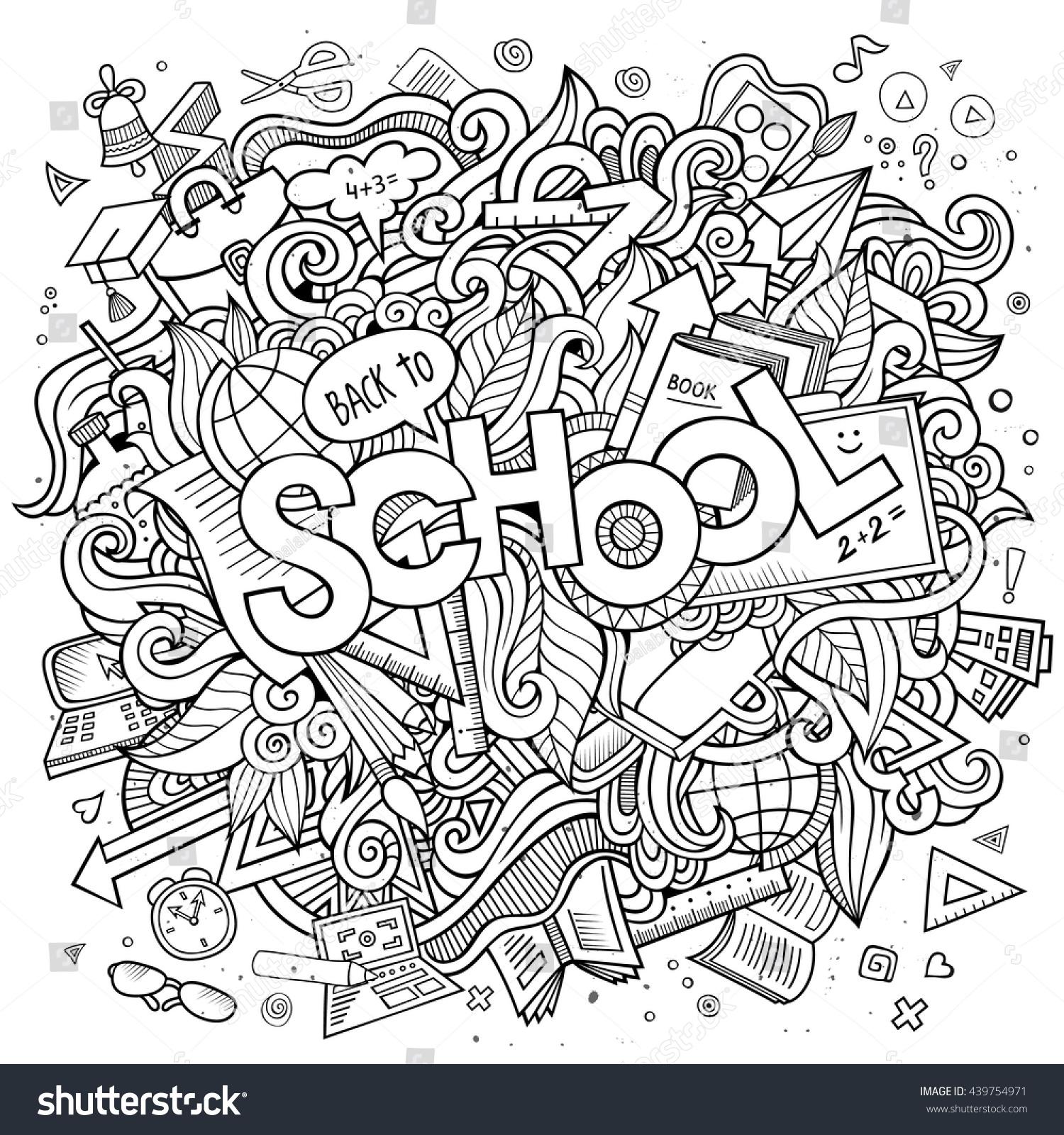 Line Art Doodles : Cartoon cute doodles hand drawn school stock vector