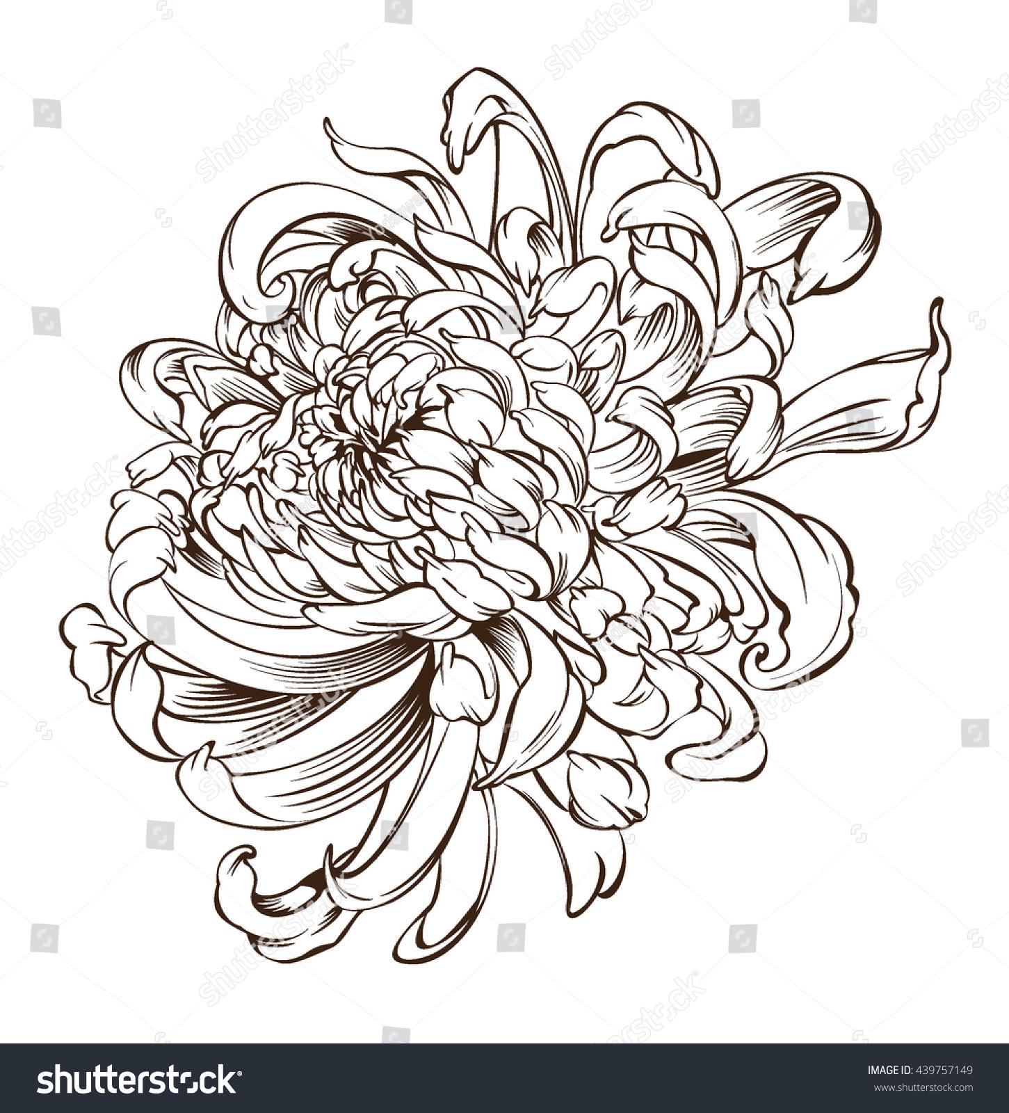 Japanese Flower Line Drawing : Japanese flower tattoo chrysanthemum blossoms stock