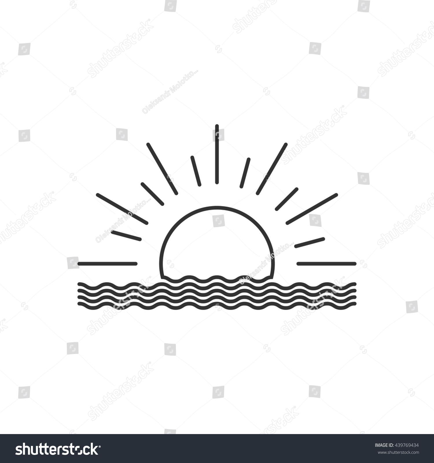 Line Drawing Sunrise : Vector outline sunset sunrise icon isolated stock