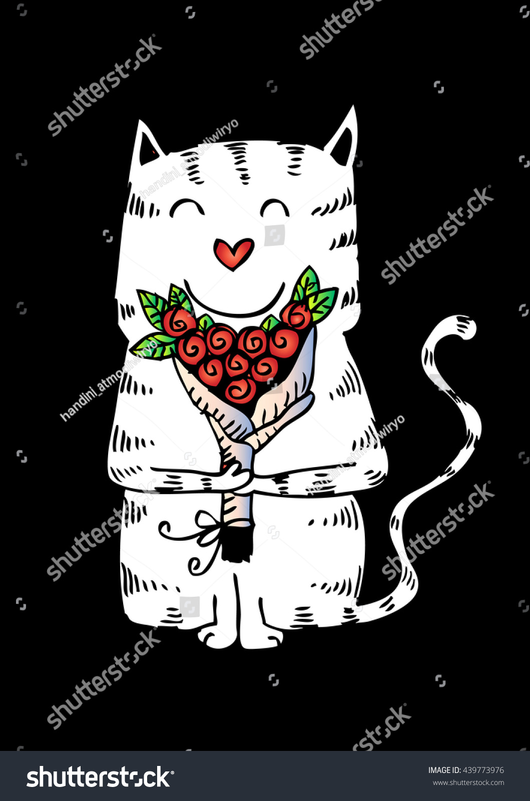 Cat With A Bouquet Of Flowers Ez Canvas