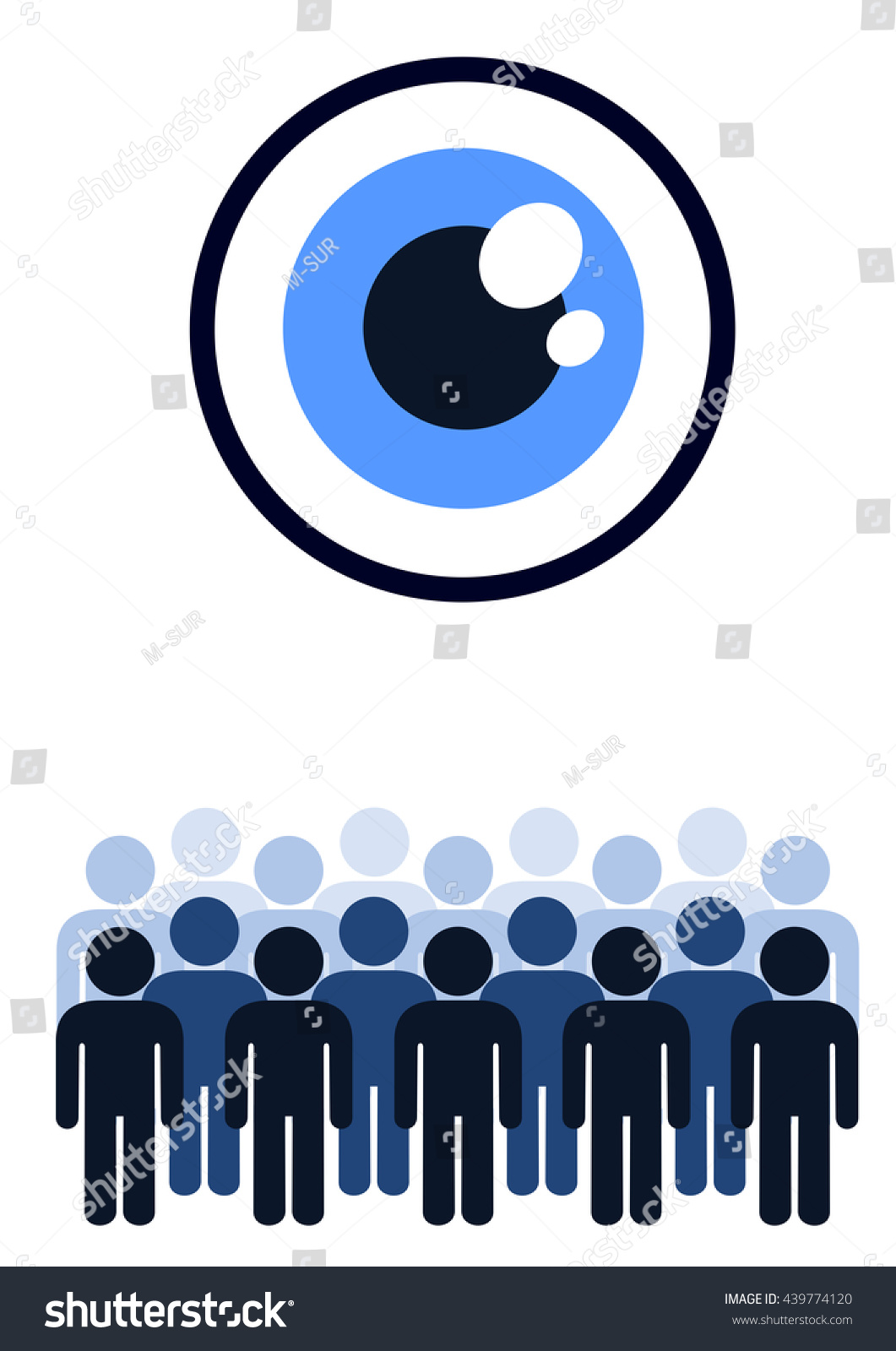 Controlling crowd by eye positive negative stock vector 439774120 controlling crowd by eye positive negative meaning totalitarian oppression of society by secret biocorpaavc Images