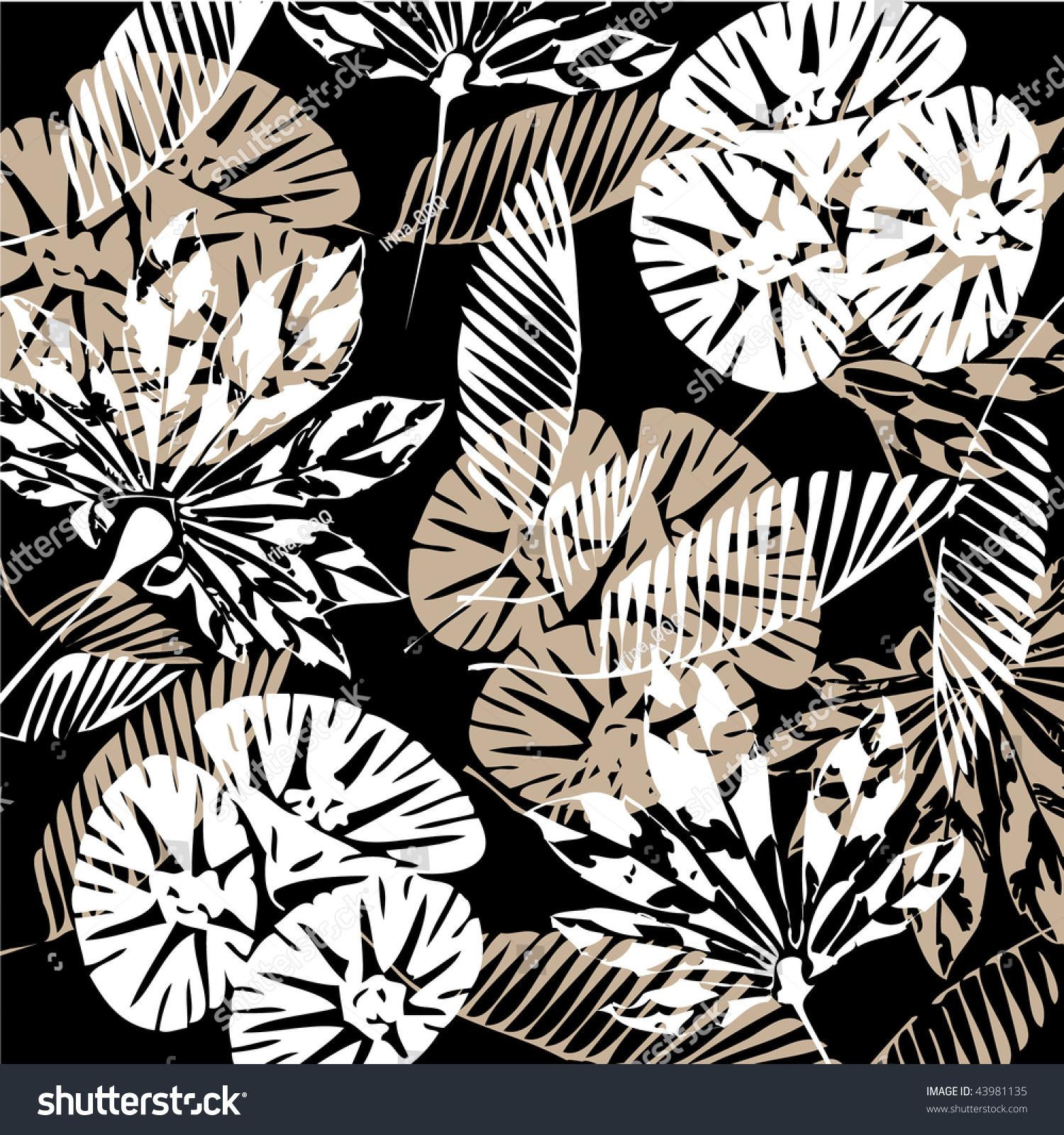 Art Vintage Floral Autumn Black White Stock Vector 2018 43981135
