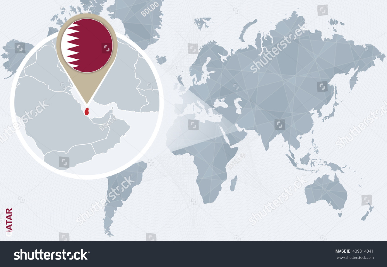 Abstract blue world map magnified qatar stock vector royalty free abstract blue world map with magnified qatar qatar flag and map vector illustration gumiabroncs Images