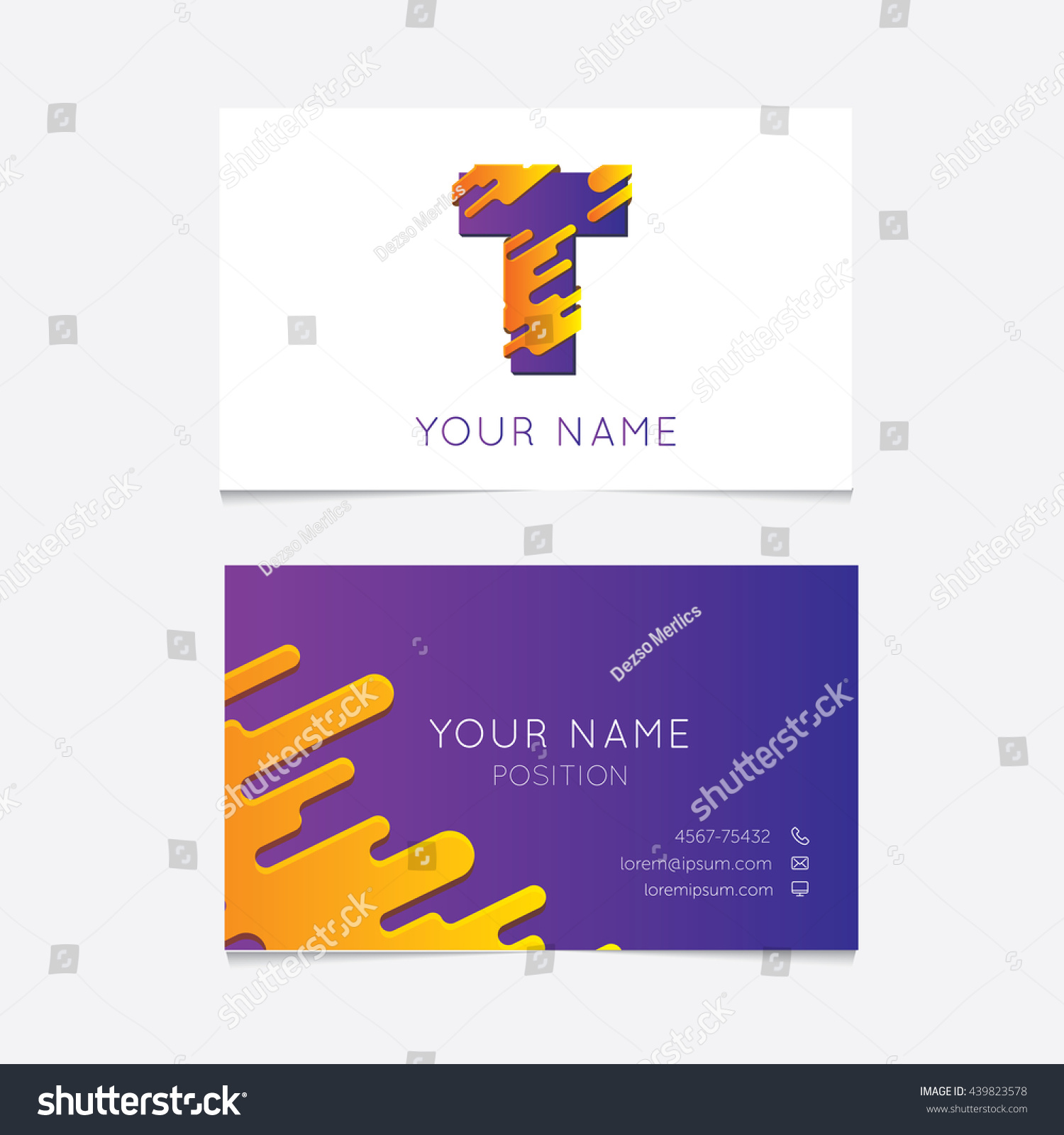 Creative T Logo On Business Card Stock Photo (Photo, Vector ...
