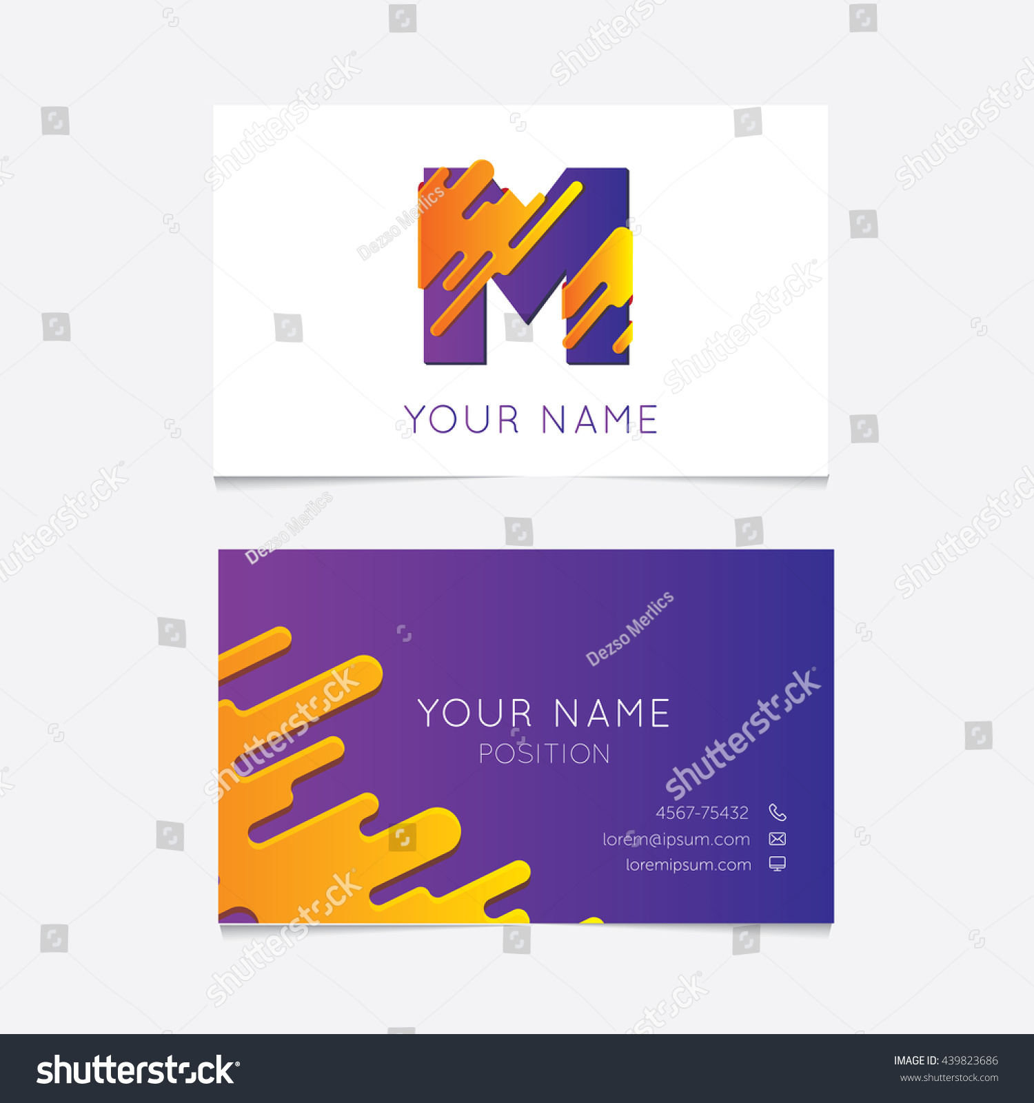 Creative M Logo On Business Card Stock Vector (2018) 439823686 ...