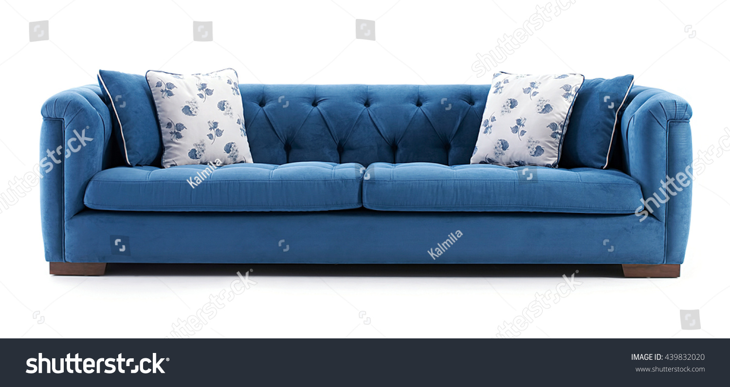 Blue sofa isolated on white background stock photo for Blue and white sofa