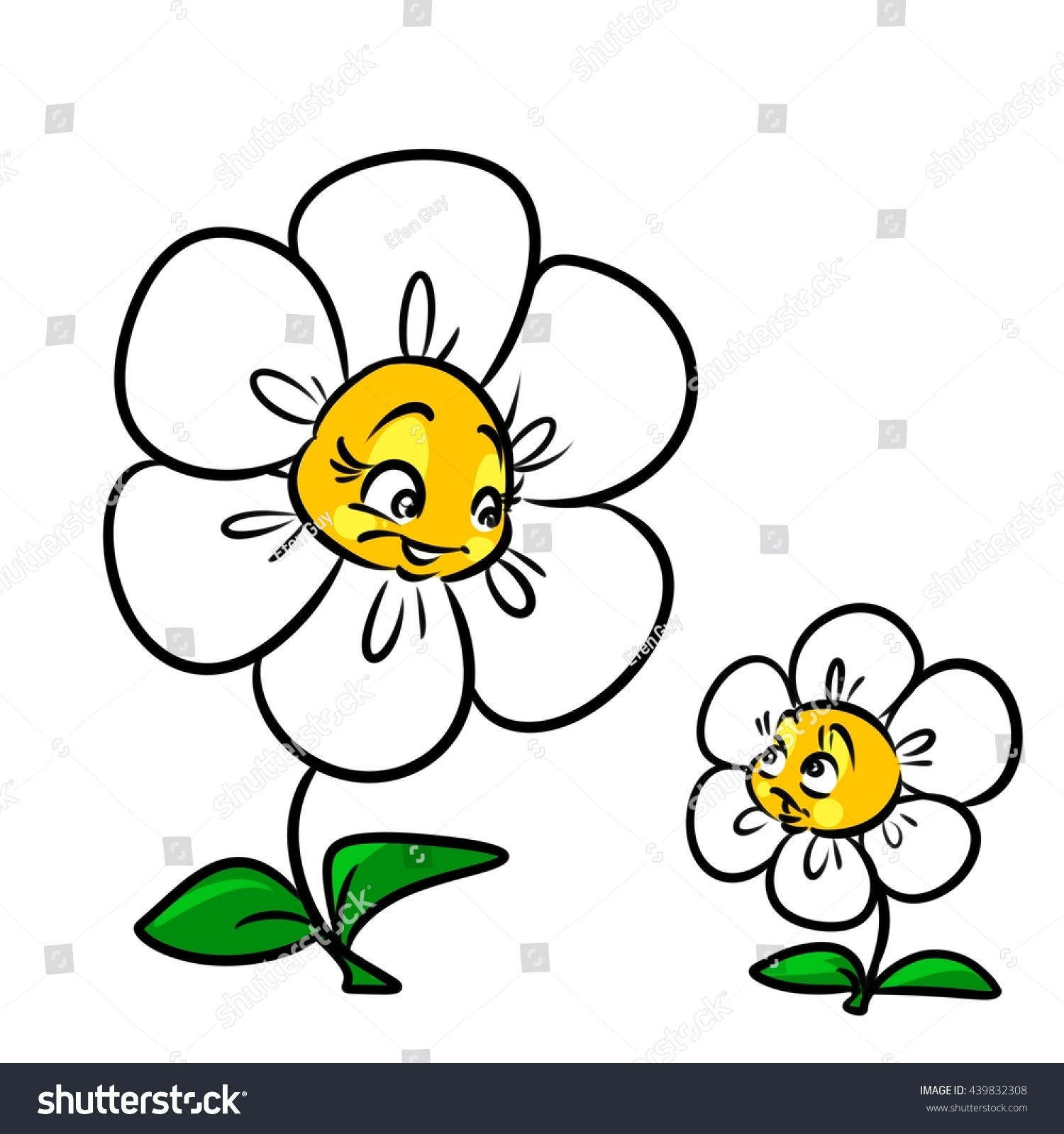 Daisy Flower Mother Child Cartoon Illustration Stock Illustration