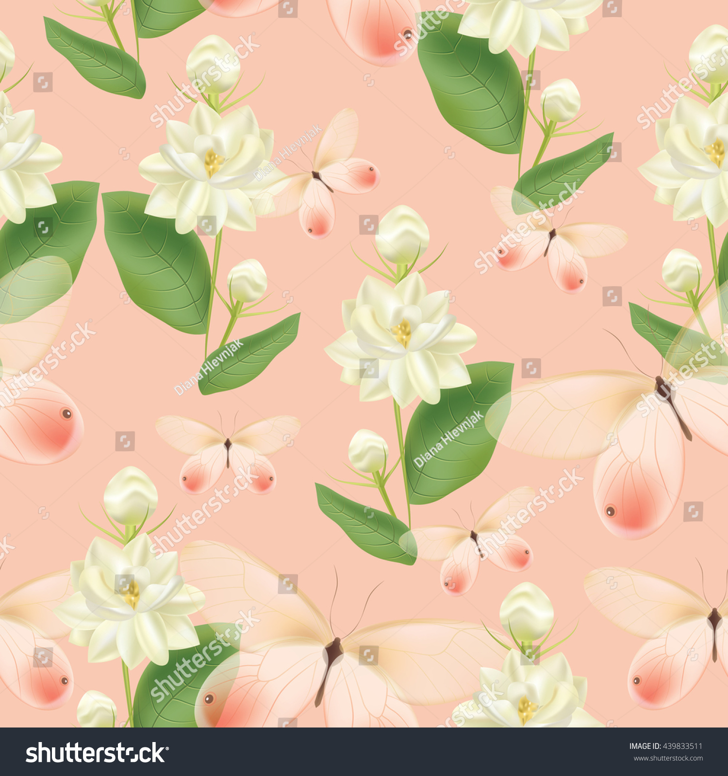 Beautiful seamless pattern white jasmine flowers stock illustration beautiful seamless pattern with white jasmine flowers green leaves and pink transparent butterflies on pink izmirmasajfo