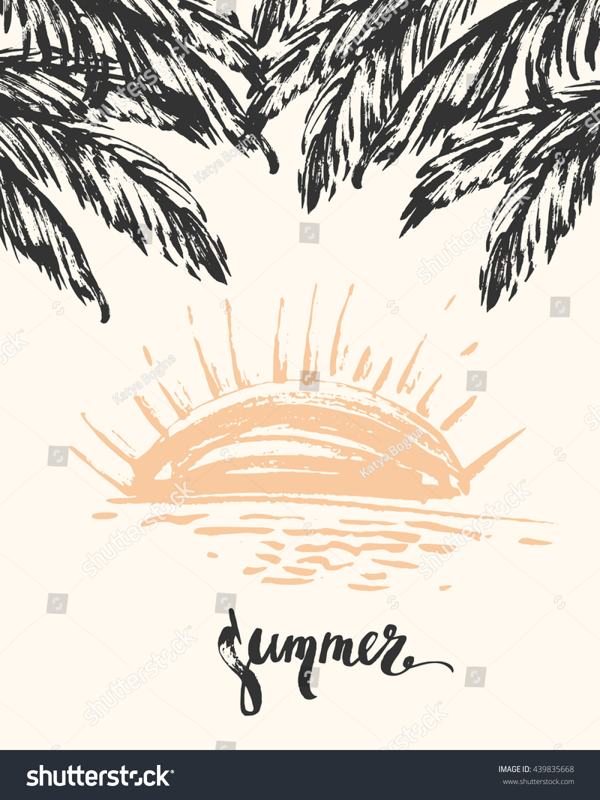 vector flyer template palm leaves sunset stock vector 439835668