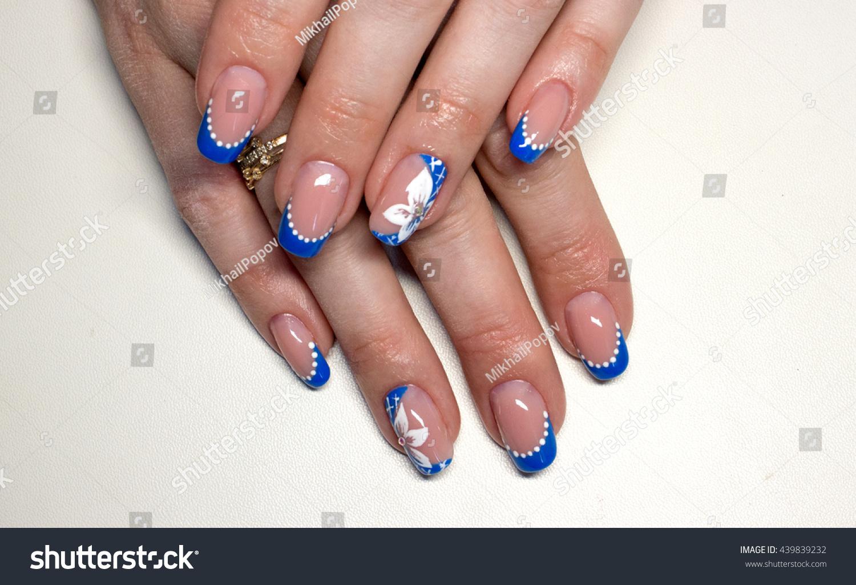 Nails french manicure dark blue flower stock photo edit now nails french manicure with dark blue flower izmirmasajfo