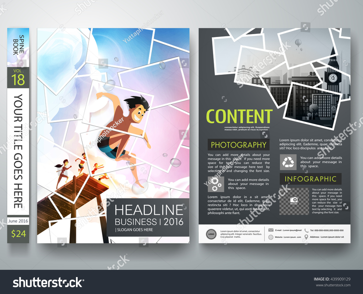 Book Cover Photography Business : Brochure design template vector photography flyers stock