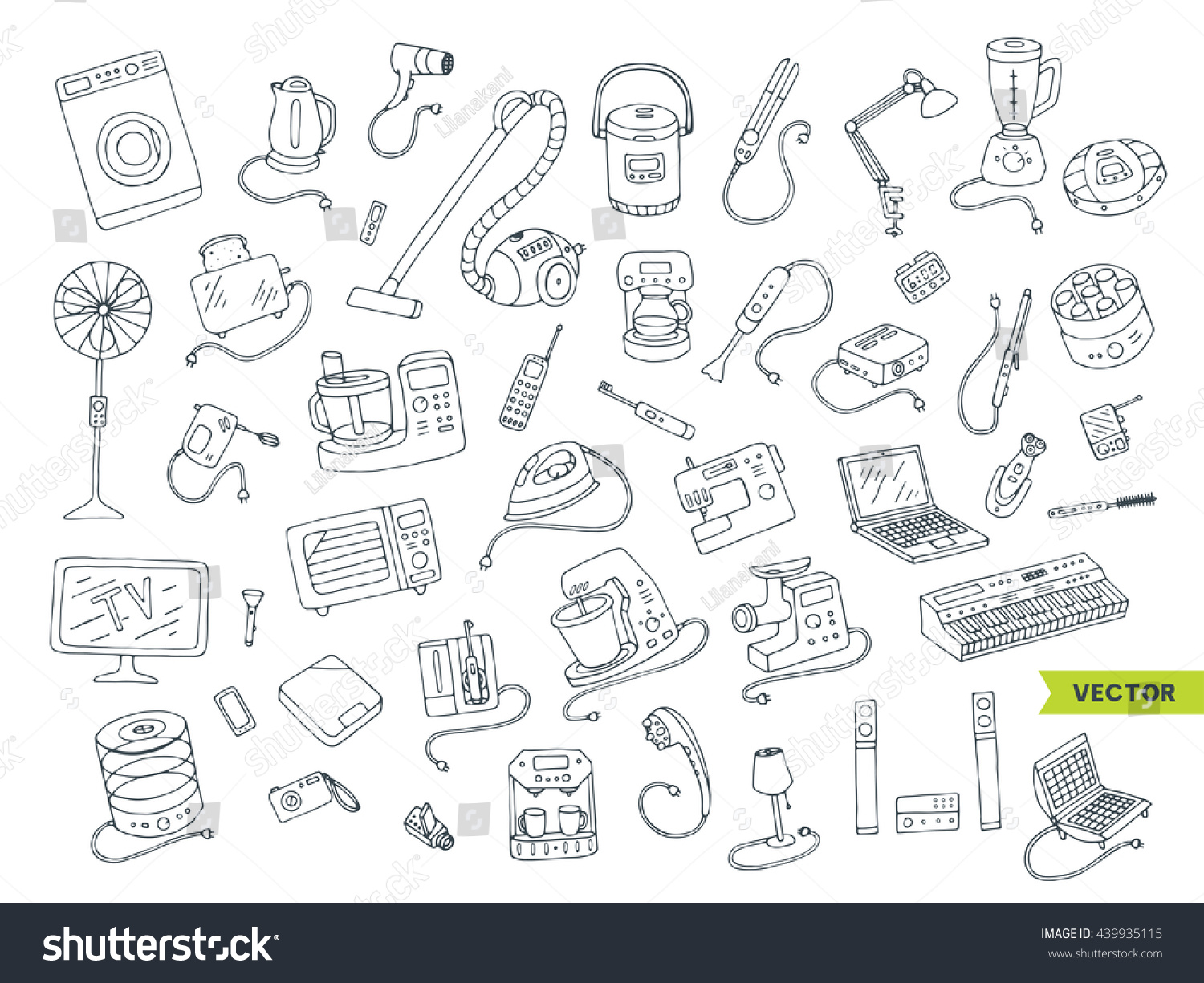 Hand Drawing Line Icons : Household appliances doodle hand drawn big stock vector