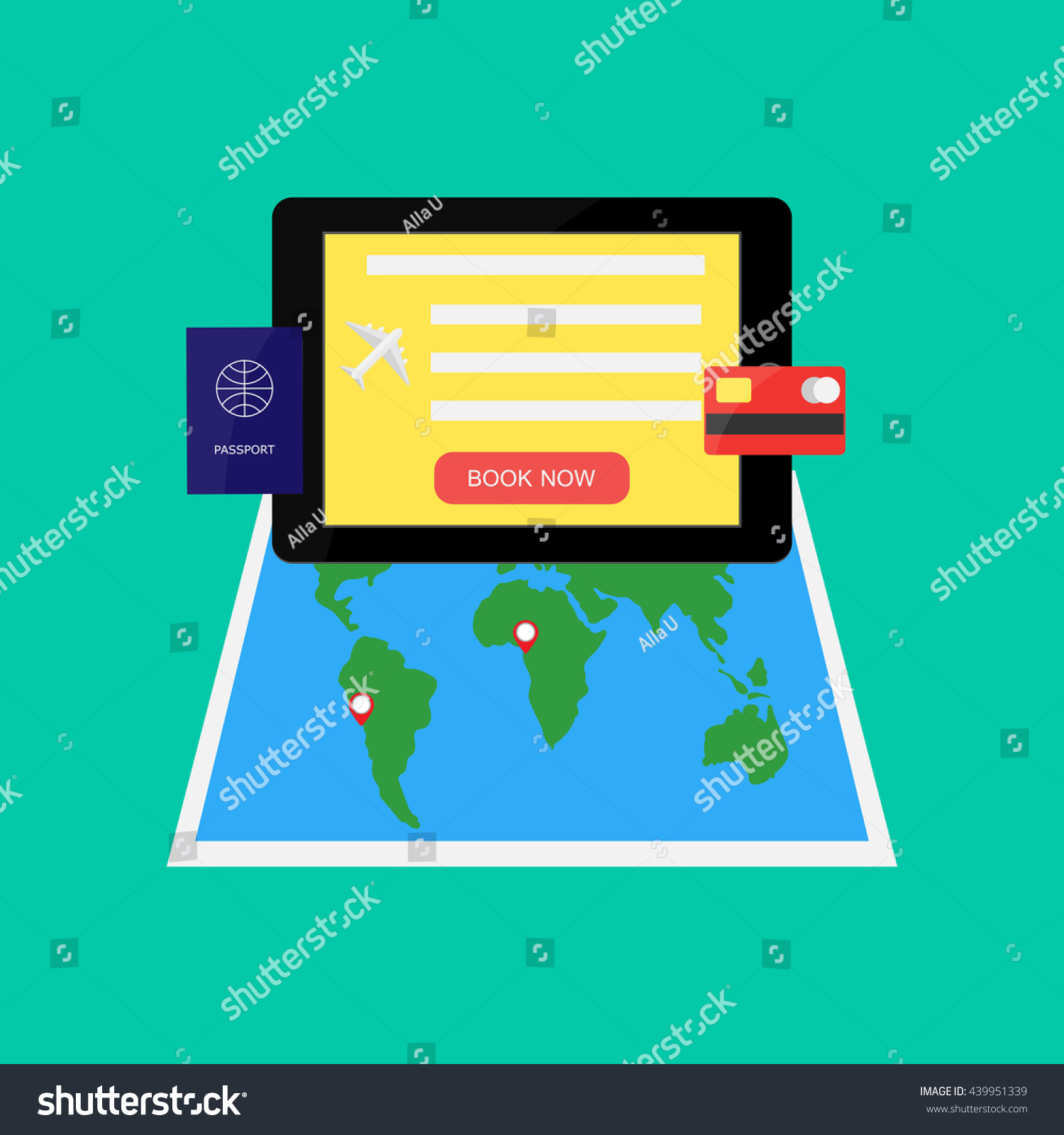 Tablet World Map Passport Bank Card Stock Vector (Royalty Free