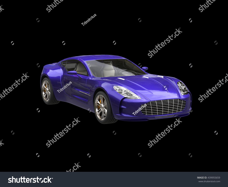 Purple Sportscar Isolated On Black Background Stock Illustration