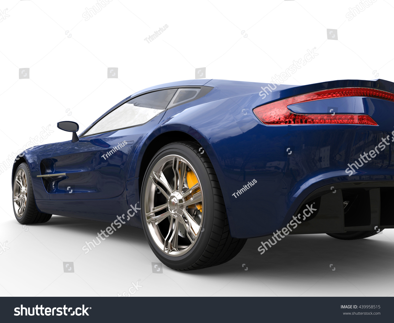 Dark Blue Sports Car   Back View   Closeup Shot   Isolated On White  Background