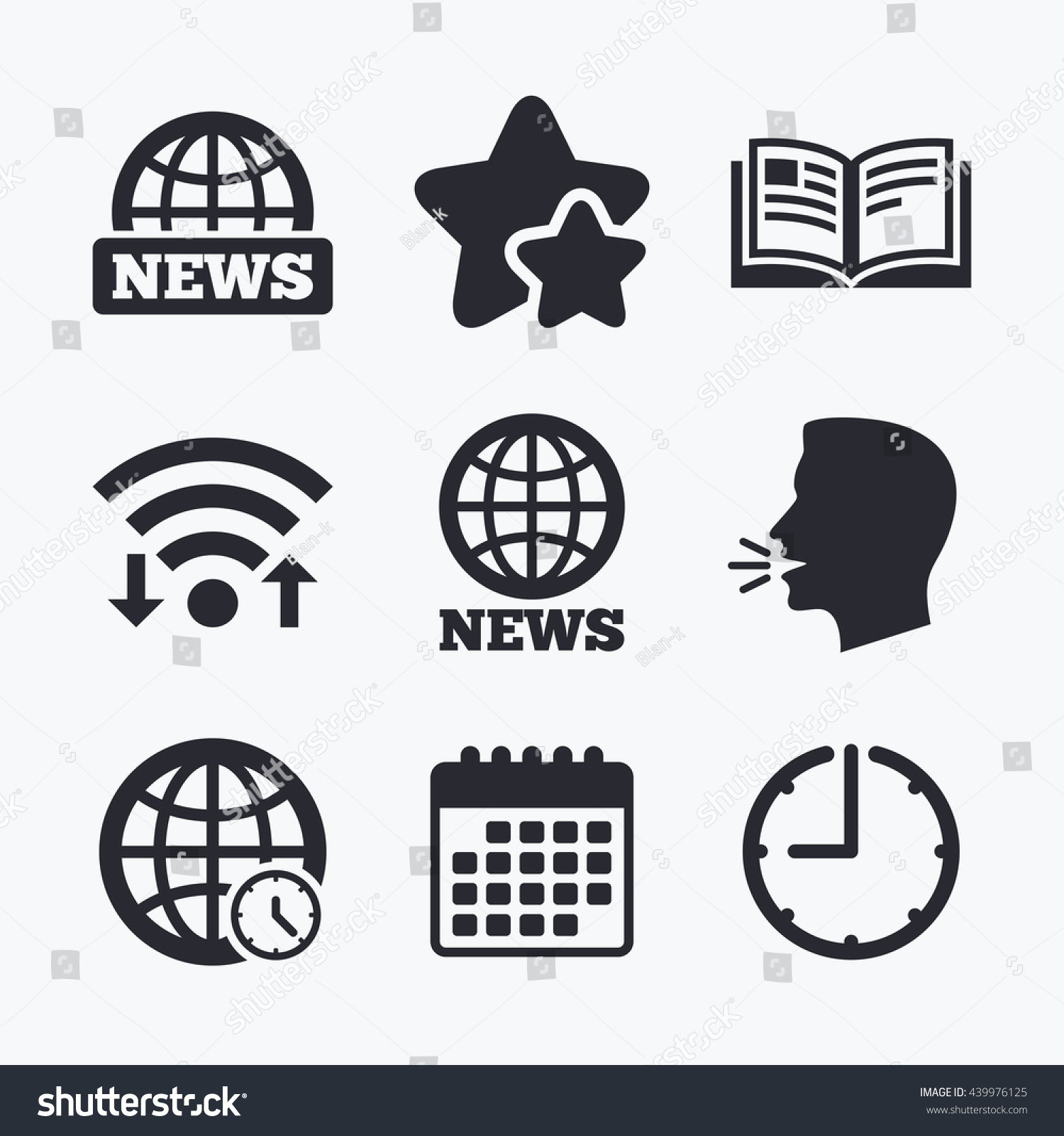 Symbol In Literature News Icons World Globe Symbols Open Book Sign