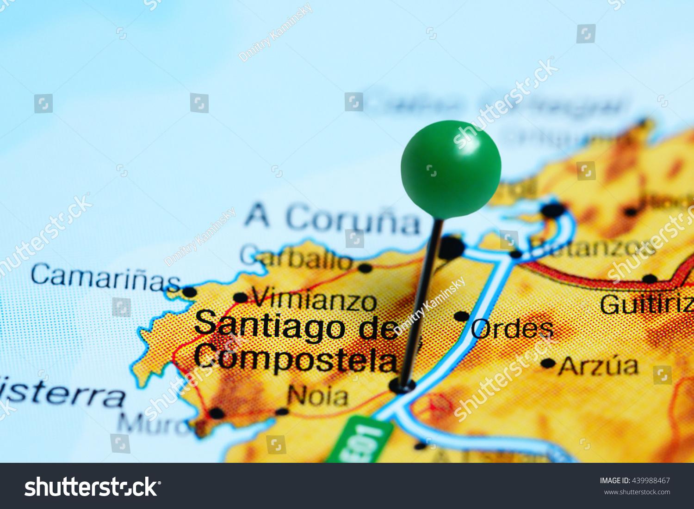 Santiago De Compostela Pinned On Map Stock Photo Royalty Free