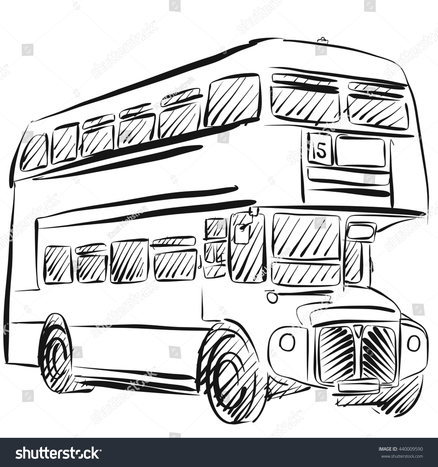 London Bus Freehand Sketch Vector Outline