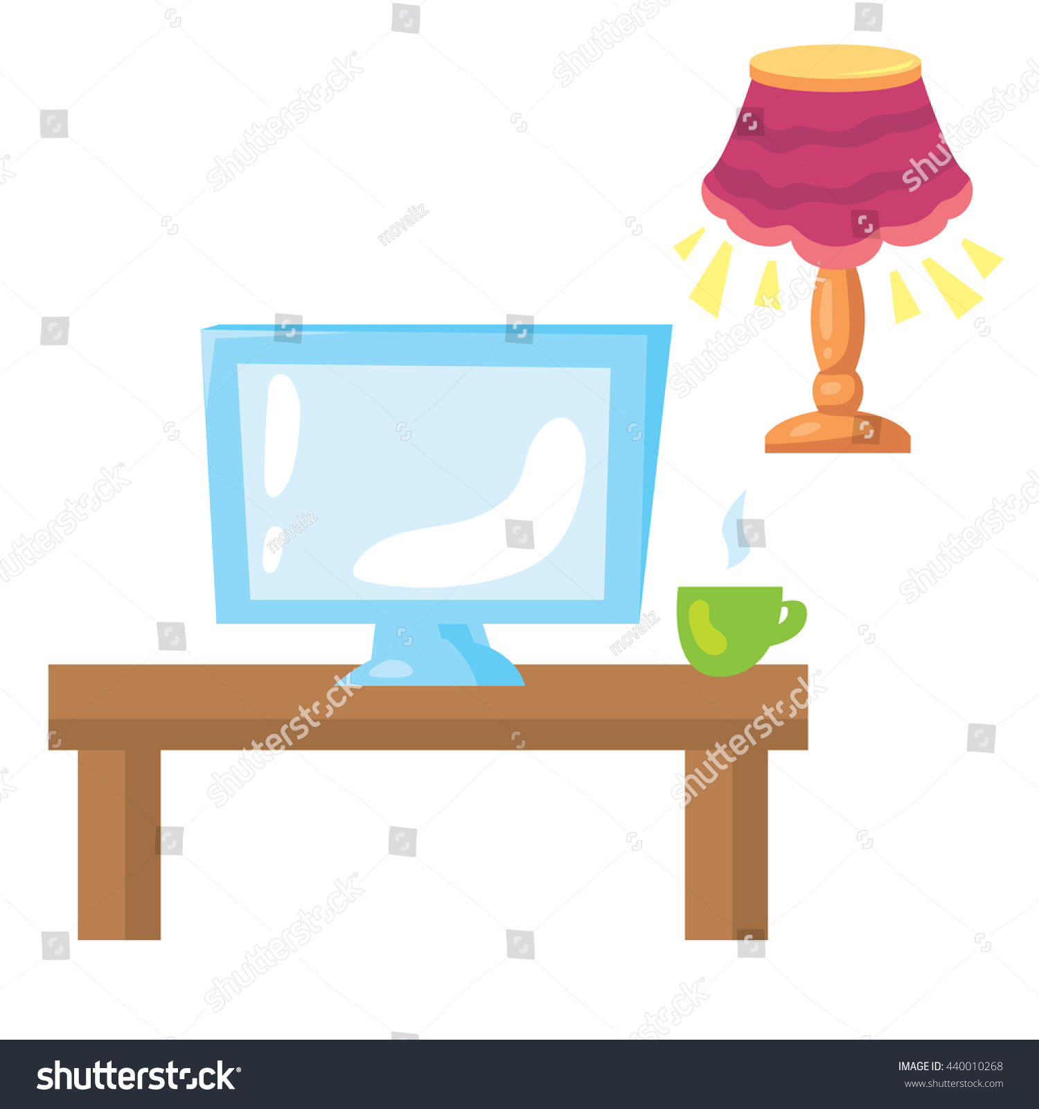 Living Room Objects Lamp With Lampshade Working Place Computer Monitor Table And