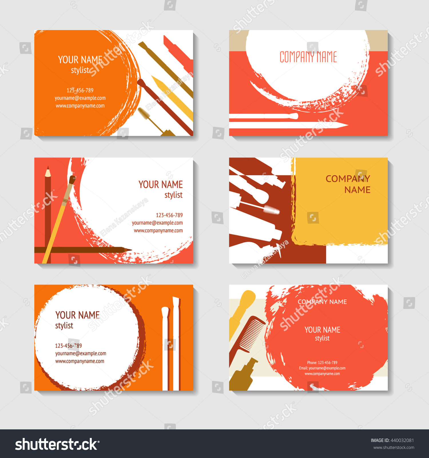 cosmetic makeup business cards set vector stock vector