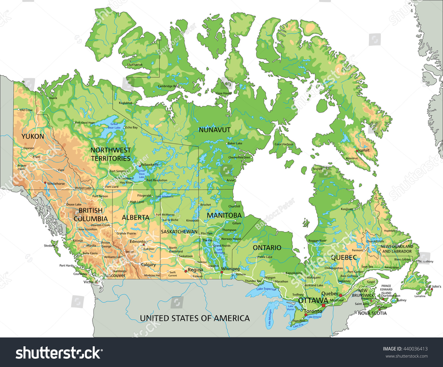High Detailed Canada Physical Map Labeling Stock Vector (Royalty ...