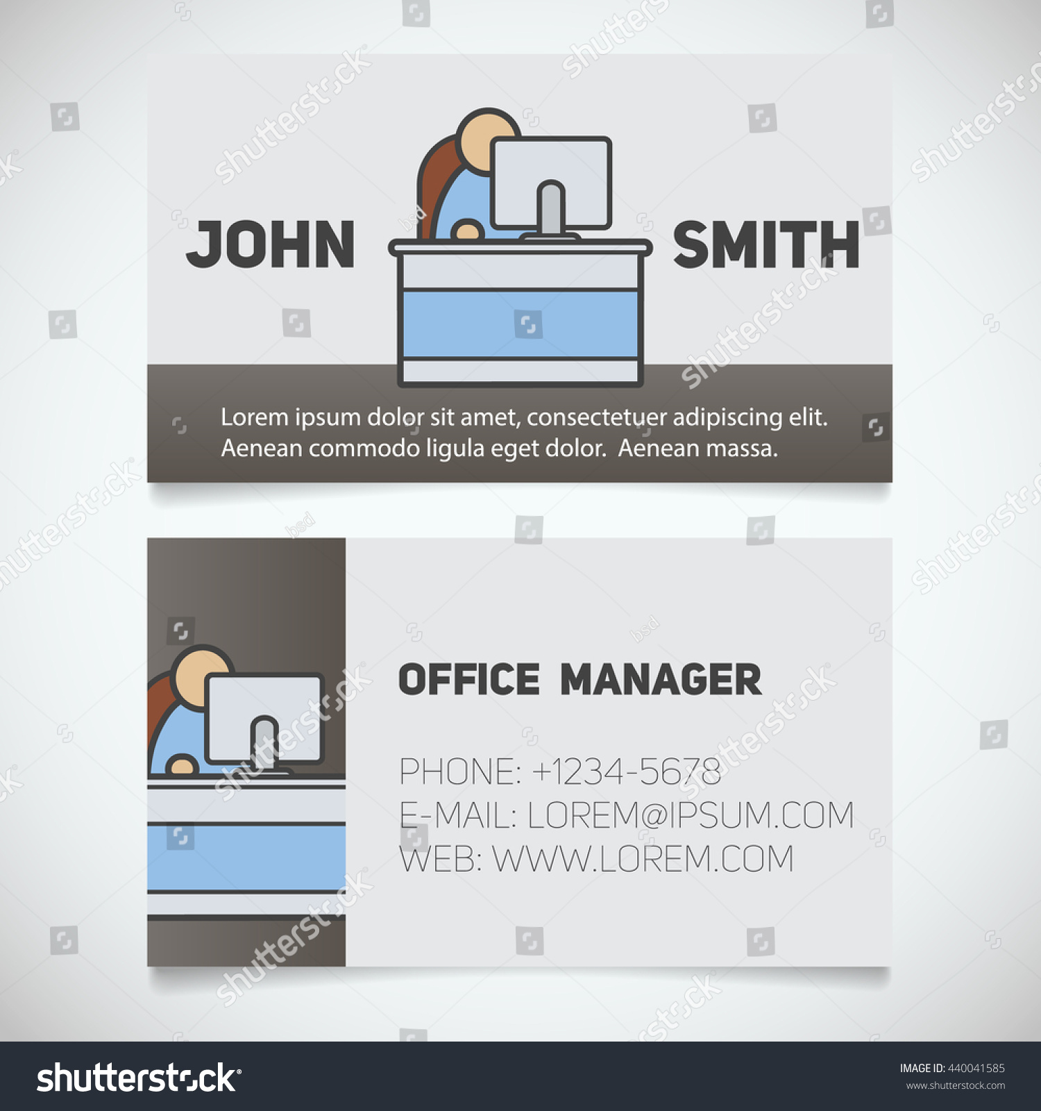 Business Card Print Template Office Manager Stock Vector Royalty