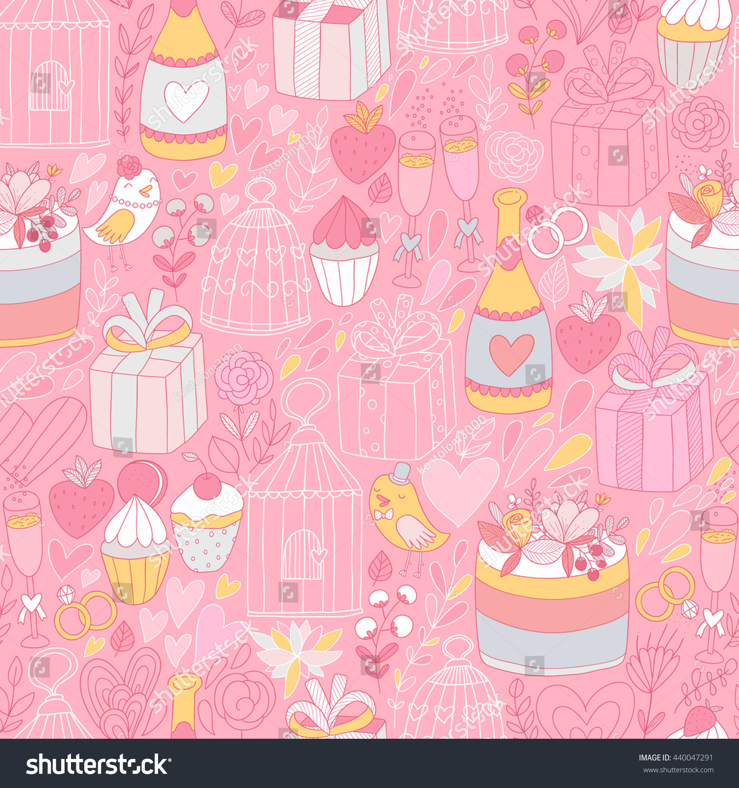 Seamless Pattern Cute Wedding Objects Adorable Stock Vector (Royalty ...
