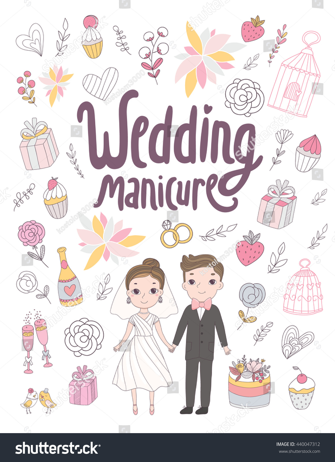 Wedding Manicure Poster Nail Salon Cute Stock Vector (Royalty Free ...