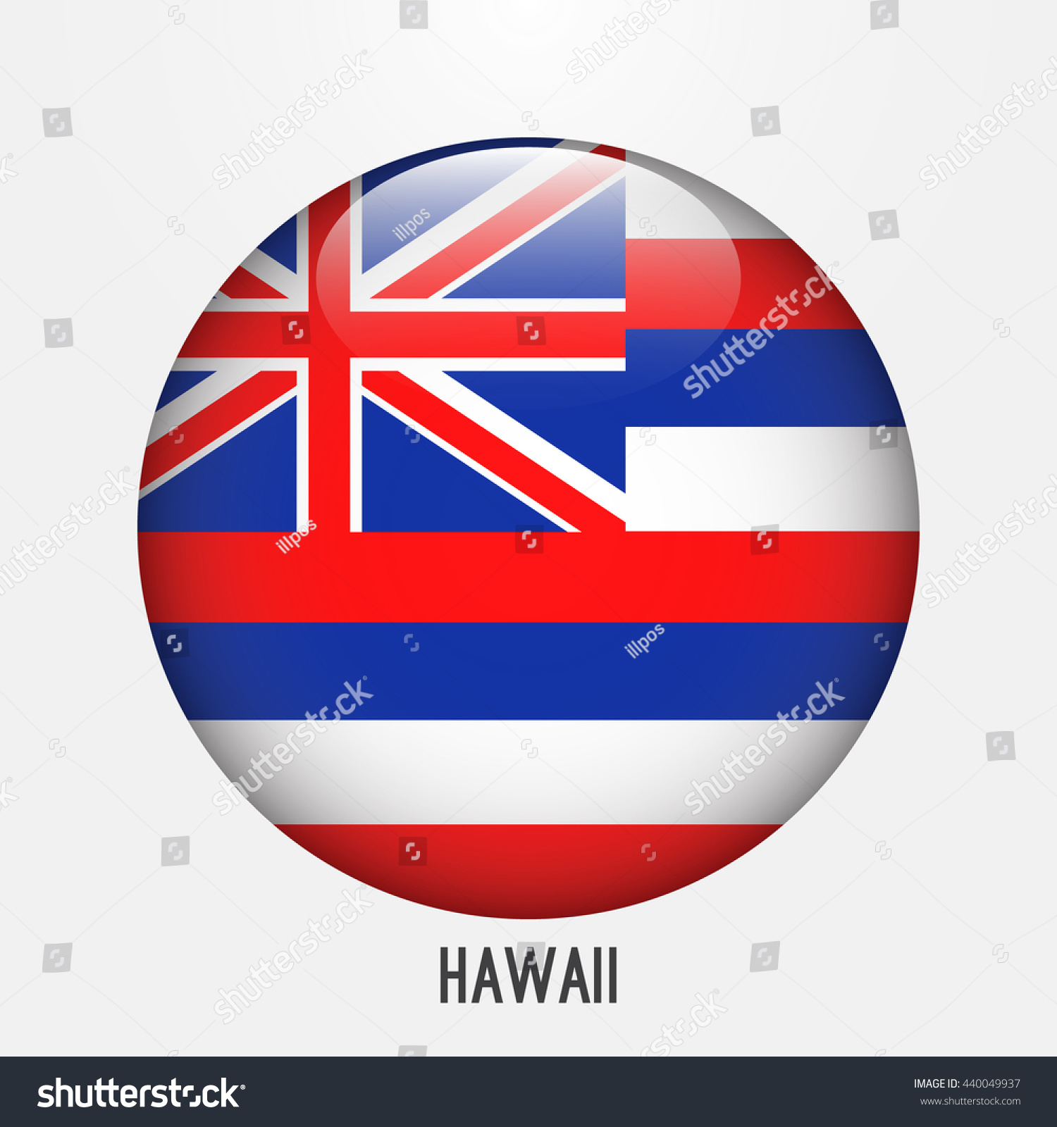 Hawaii Flag In Circle Shape Transparentglossyglass Button