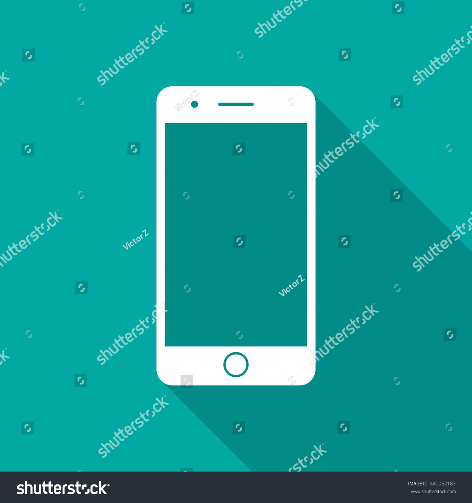 Mobile Phone Icon Long Shadow Flat Stock Vector (Royalty