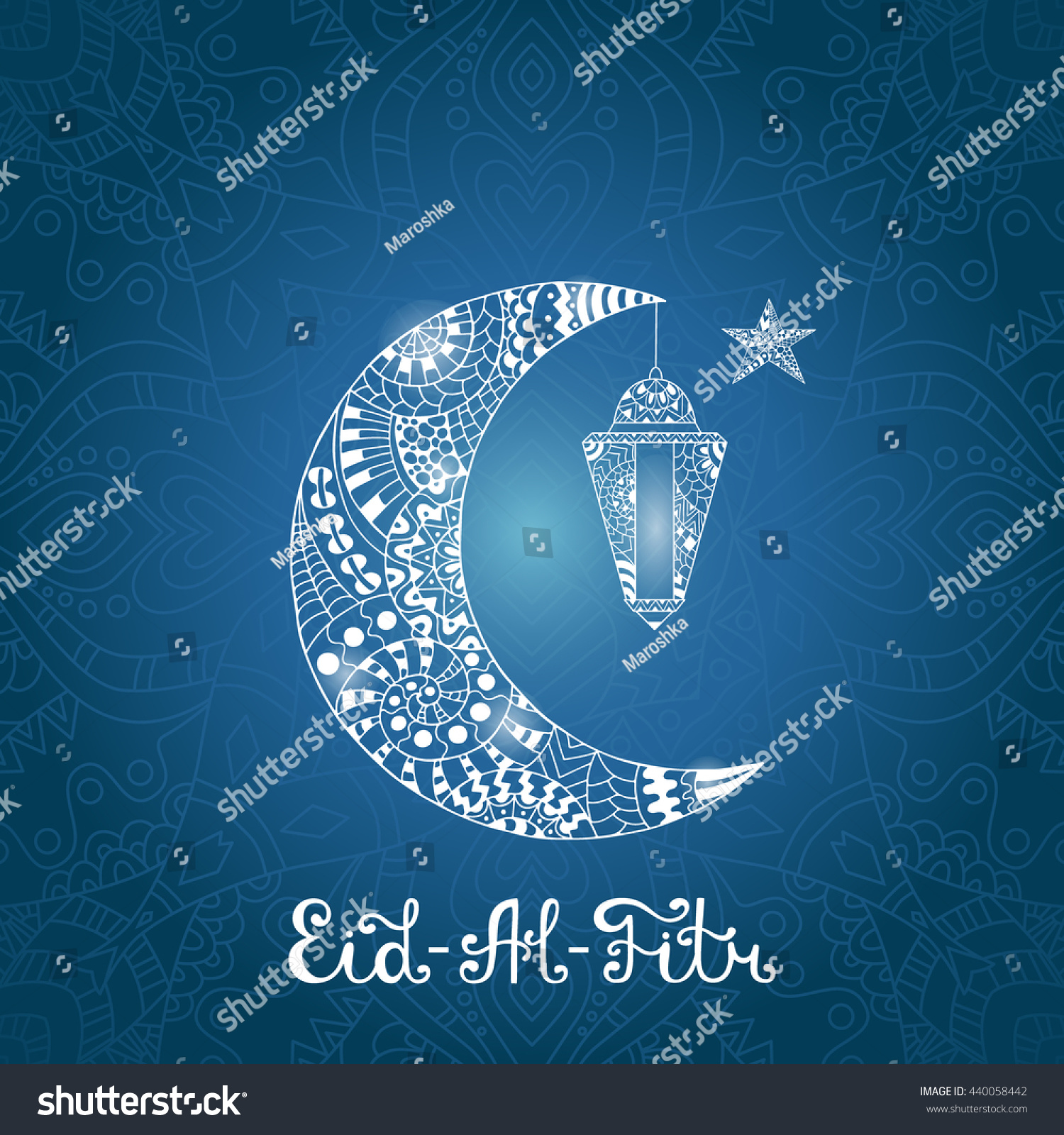 Vector illustration eid al fitr greeting stock vector 440058442 vector illustration eid al fitr greeting card with ornamental lamp ornate crescent moon and kristyandbryce Images