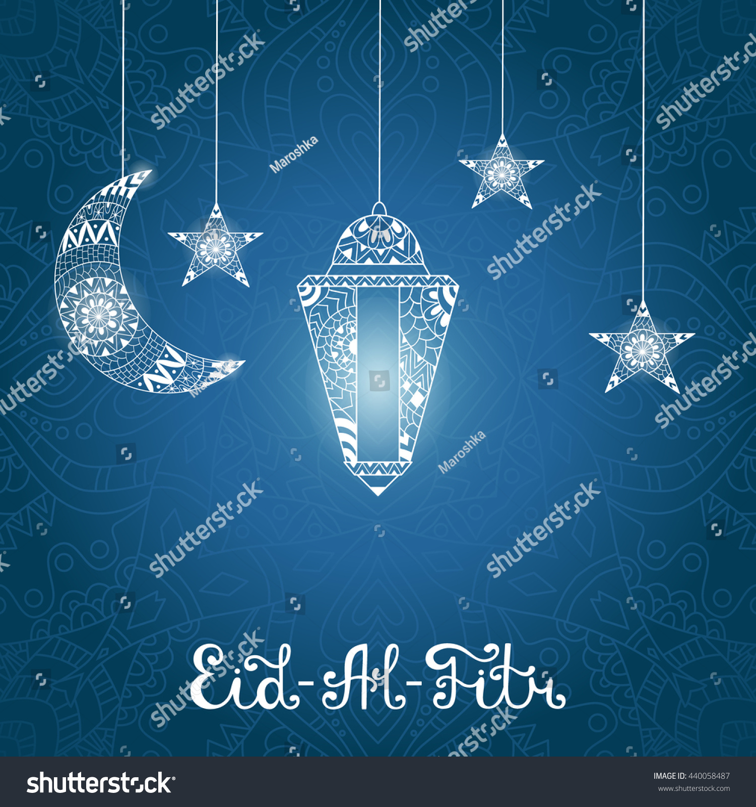 Vector illustration eid al fitr greeting stock vector 440058487 vector illustration eid al fitr greeting card with ornamental lamp ornate crescent moon and kristyandbryce Images