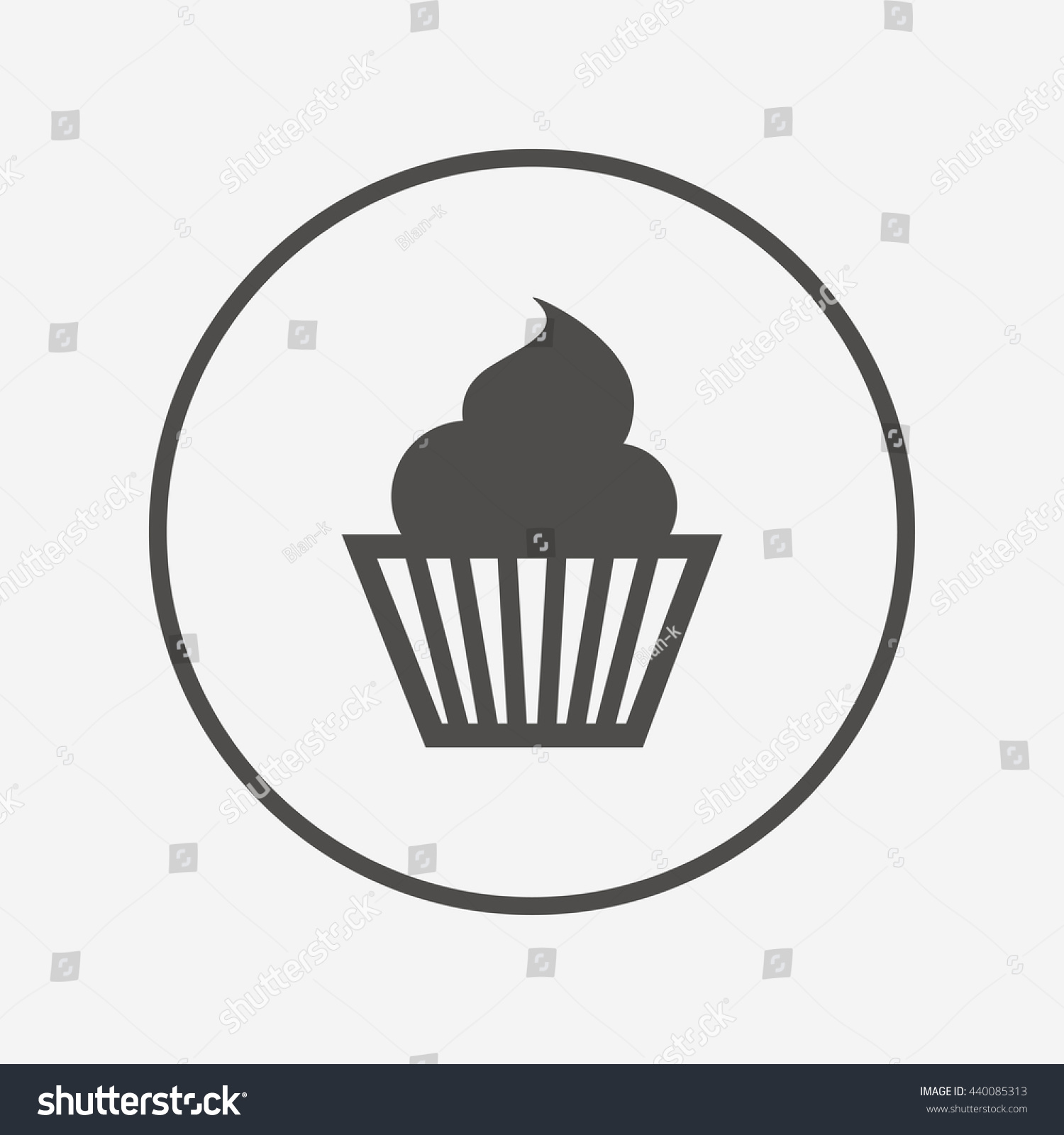 Muffin Sign Icon Cupcake Symbol Round Stock Vector Royalty Free