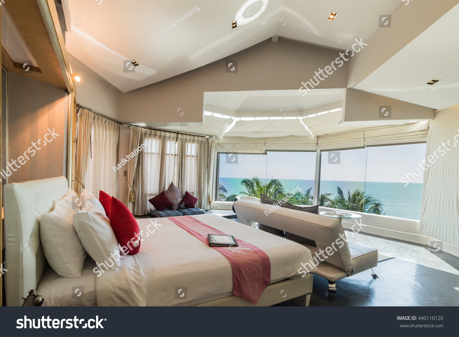 Modern style living room bed sea stock photo 440110120 for Modern living room with view