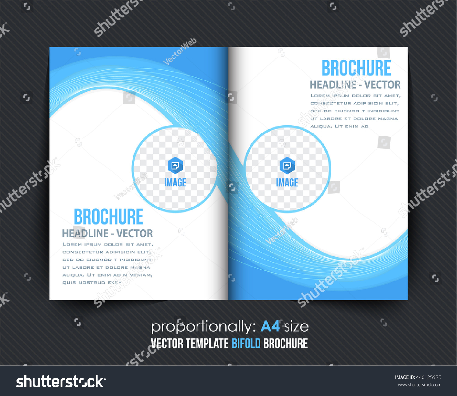 A 4 Bi Fold Brochure Template Corporate Leaflet Stock Vector