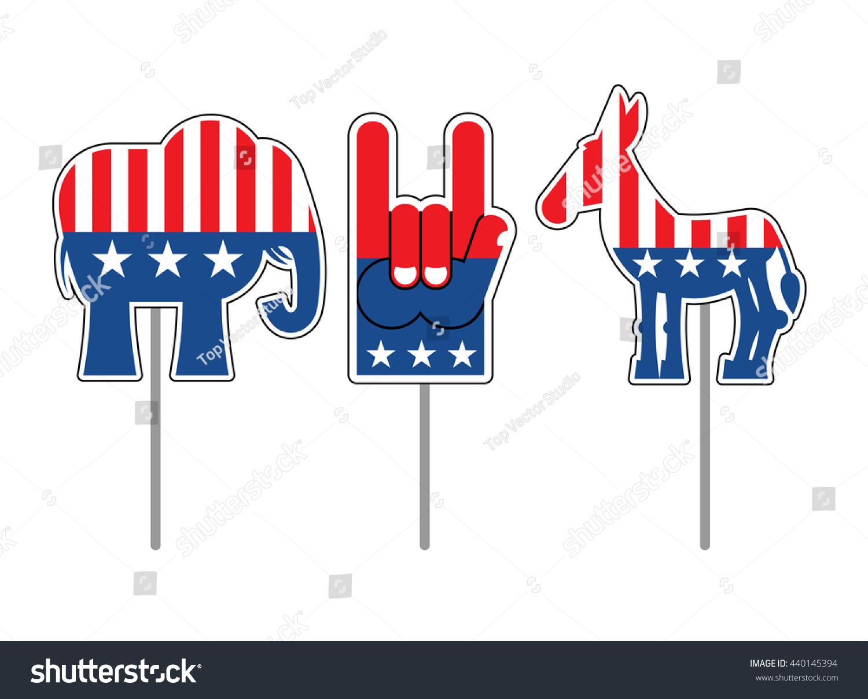 Elephant Donkey Symbols Democrats Republicans Political Stock