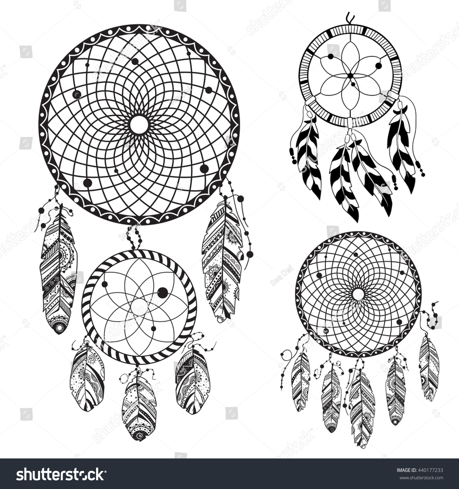 dreamcatcher tattoo template - royalty free dreamcatcher hand drawn vector 440177233