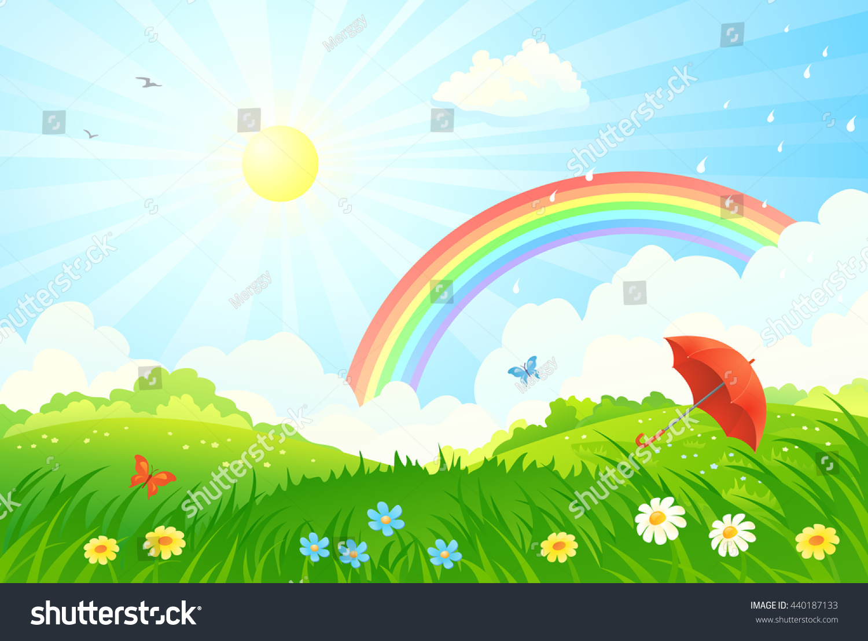 vector cartoon illustration summer scenery rainbow stock vector