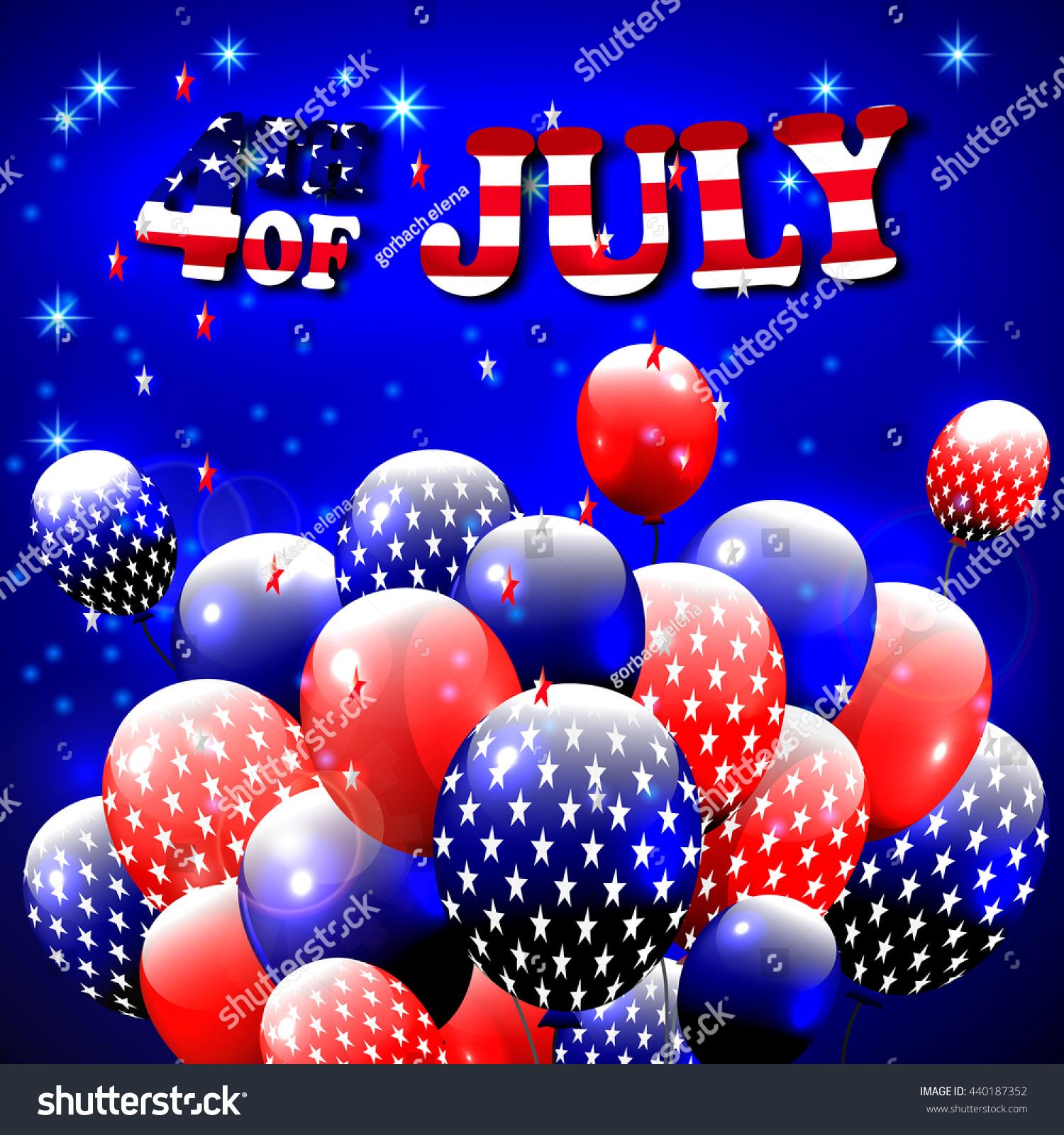 Happy 4th July Design Blue Background Stock Illustration 440187352