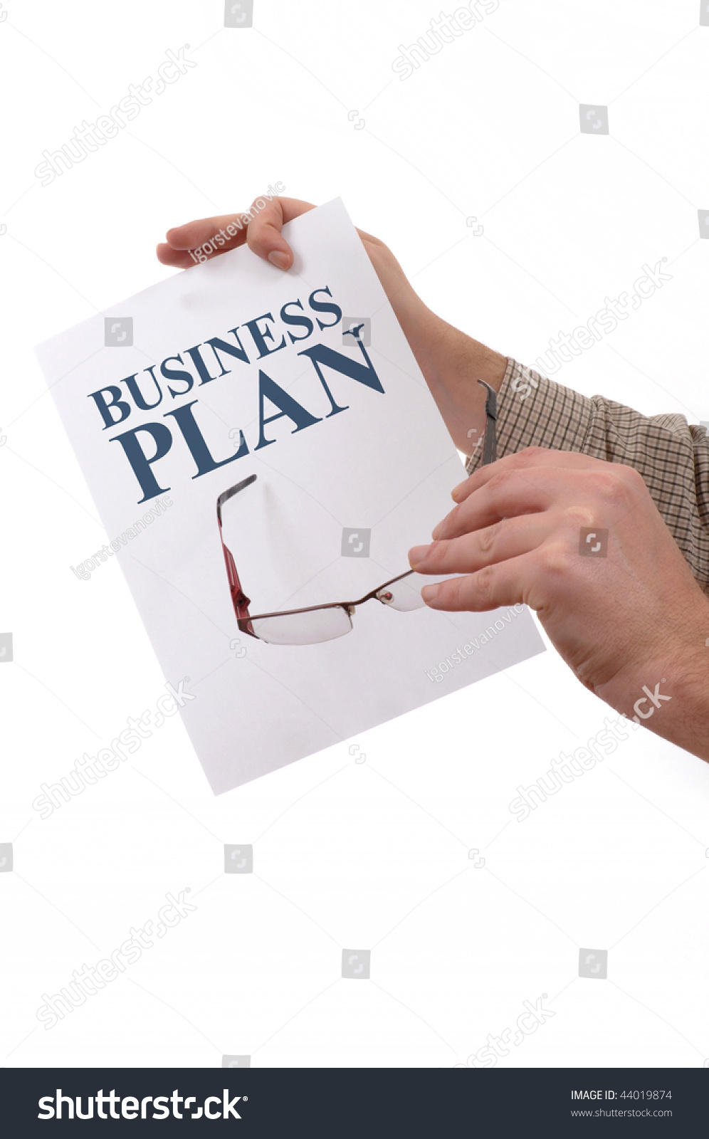 Man Holding Piece Blank White Paper Stock Photo 44019874