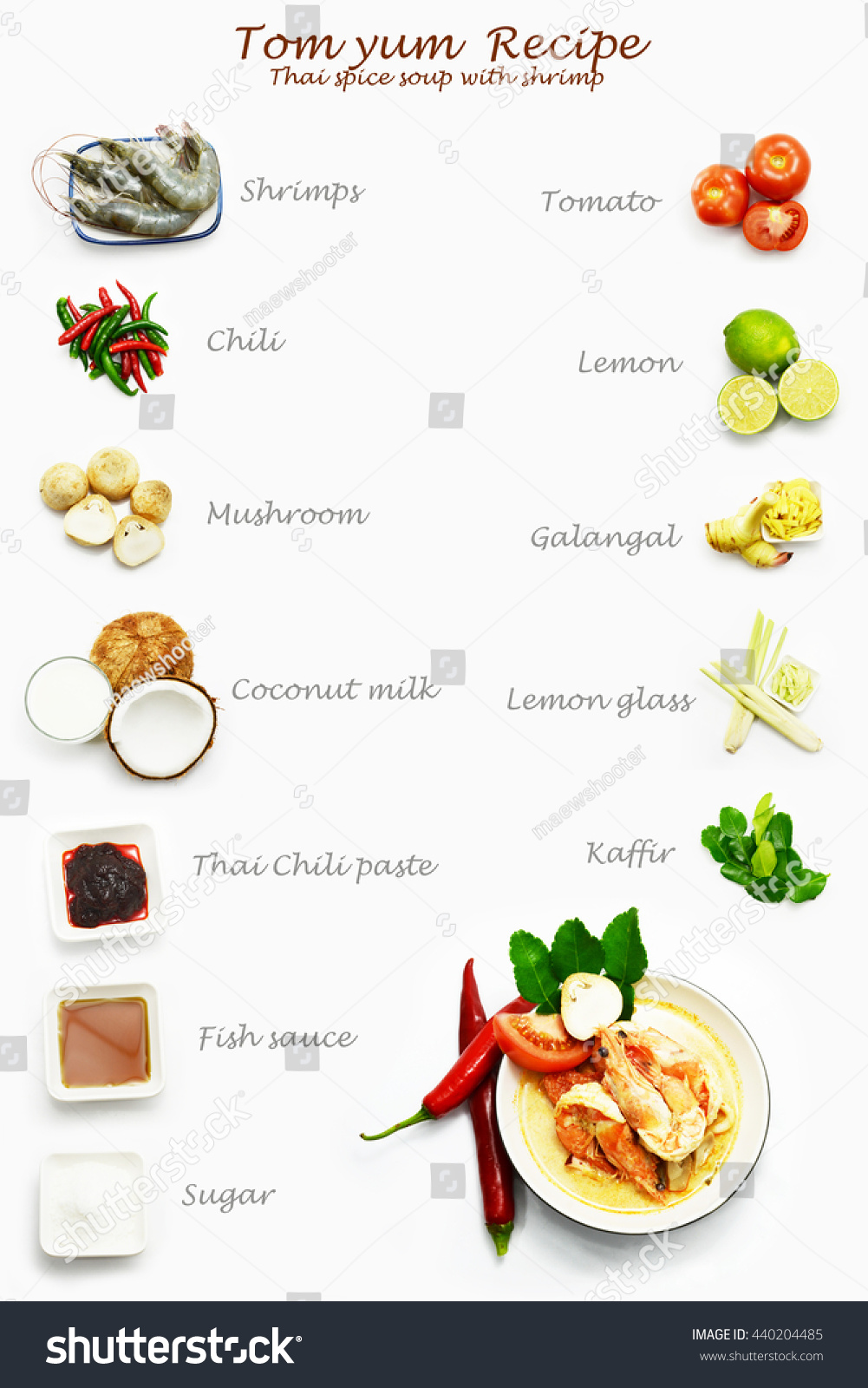Recipe Thai Food Tom Yum Thai Stock Photo (Safe to Use) 440204485 ...