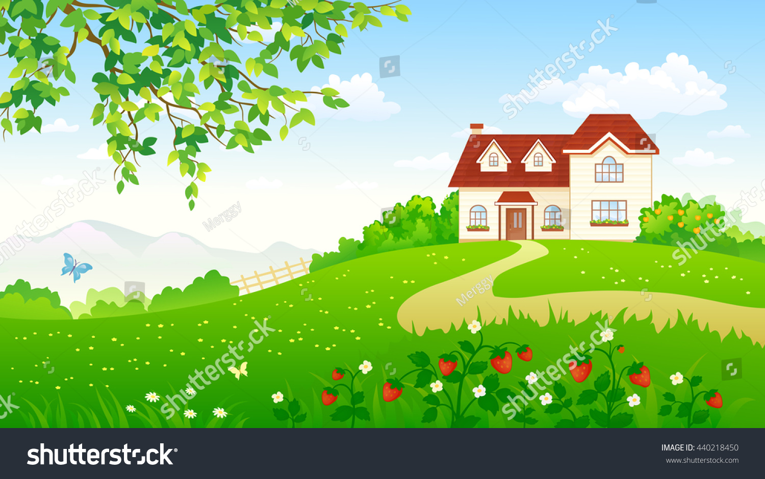 Beautiful garden cartoon - Vector Cartoon Illustration Of A Beautiful Summer Garden With A Strawberry Meadow And A House