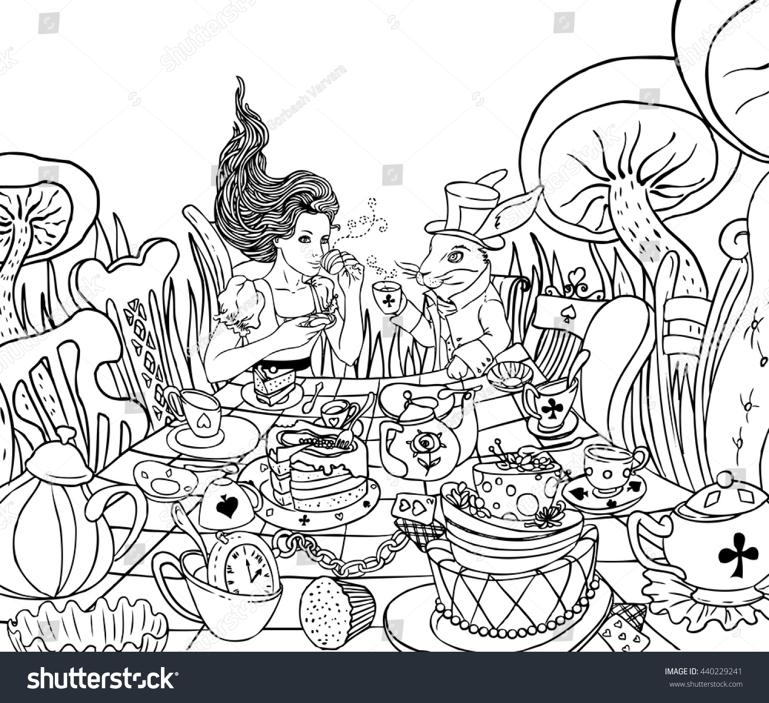 Mad Tea Party Alices Adventures Wonderland Stock Vector 440229241
