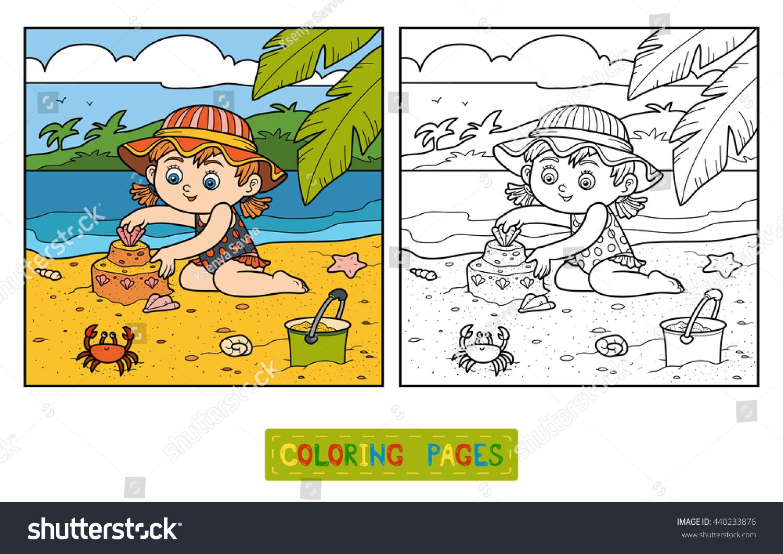 Coloring Book Children Little Girl Builds Stock Vector 440233876