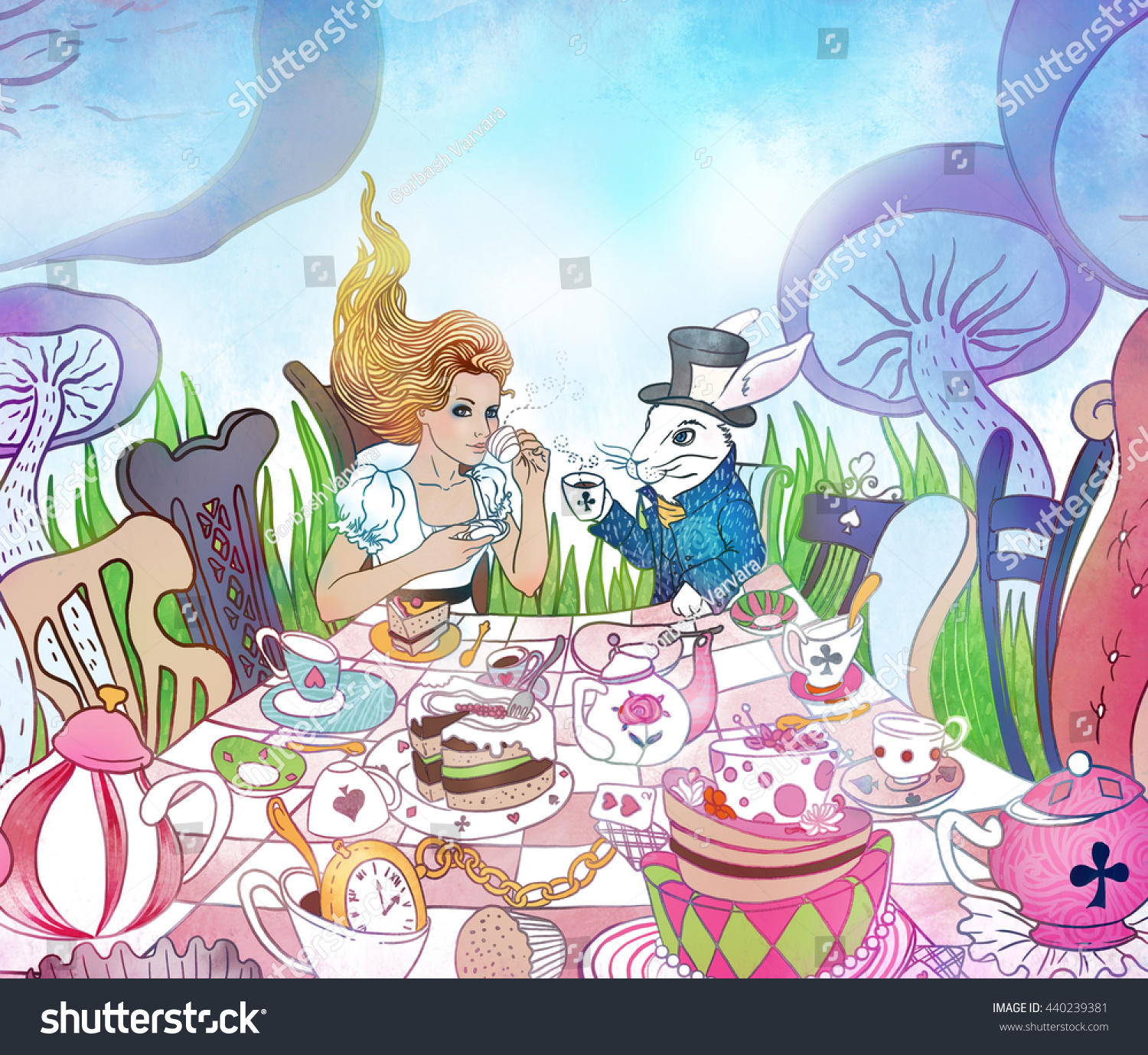 Mad Tea Party Alices Adventures Wonderland Stock Illustration ...
