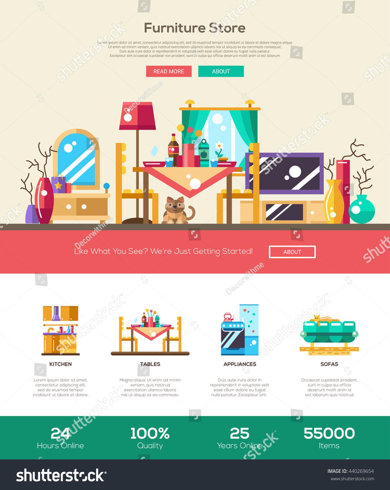 house interior domestic furniture online store stock illustration 440269654 shutterstock. Black Bedroom Furniture Sets. Home Design Ideas