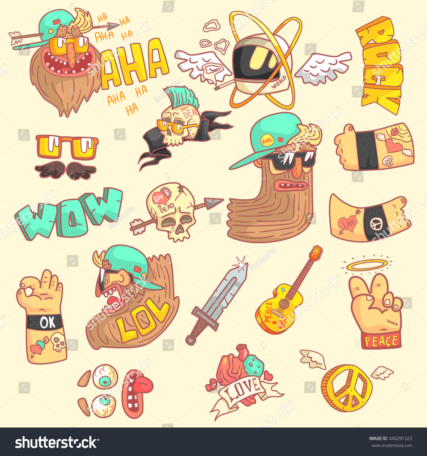 Set stylized rock themed stickers cool stock vector 440291323 set of stylized rock themed stickers with cool symbols in hand drawn flat vector biocorpaavc Image collections